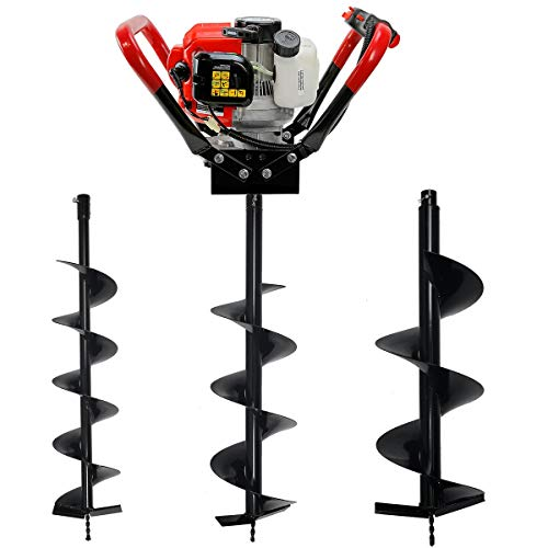 "XtremepowerUS Outdoor V-Type 55CC 2-Stroke Gas-Powered Post Hole Digger with 3 Drill Bit (6"", 8"", 10"" Bits) Set"