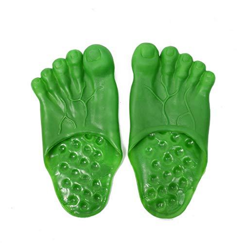 WEDFTGF 27cm Hulk Chaussons nouveaux bas doux masculins grands pieds pantoufles de fête chaussures drôle Halloween couverture de chaussures spectacle cosplay accessoires