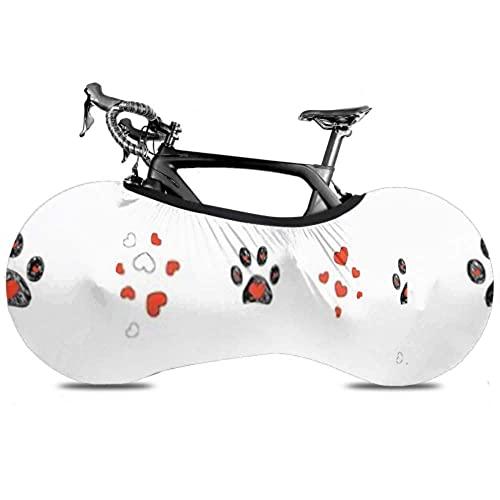 Cubierta de Rueda de Bicicleta Doodle Black Paw Prints Red Heart -Dust Bolsa de Almacenamiento Interior para Bicicleta a Prueba de rayones, Lavable Paquete de Llantas de Alta Elasticidad Road MTB
