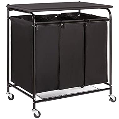 Marble Field 3-Bag Heavy-Duty Laundry Sorter Cart with Ironing Board Laundry Room Organizer with Casters Black