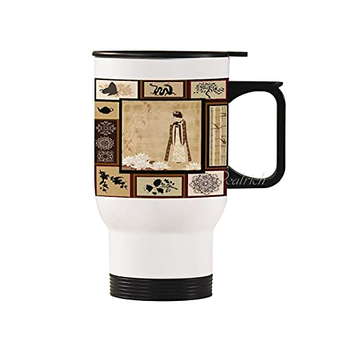 Stainless Steel Travel Mug Girl in Traditional Dress and Cultural Patterns Ornaments Antique Eastern Collage Insulated Tumbler with Lid White Coffee Mugs Cup for Men Women
