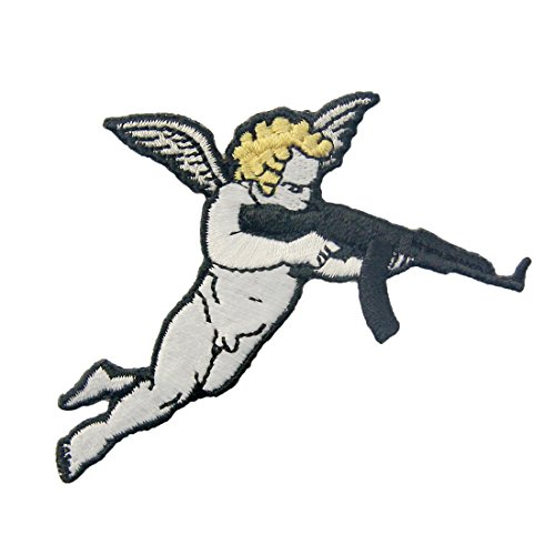 Cupid with Gun Funny Patch Embroidered Applique Iron On Sew On Emblem