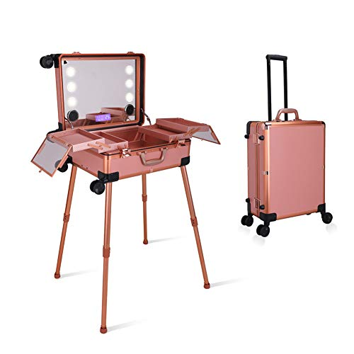 Schoonheid Make-up Trolley Case Travel Trein Met LED Licht/Spiegel Case Voor Cosmetica Draagbare Bluetooth Stereo Storage Case Touch Screen
