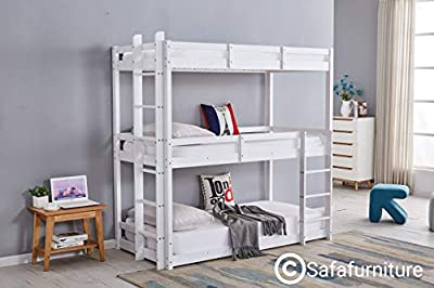 SAFA Bunkbed White Triple Sleeper Bunk bed 3 Tier 3ft Extra Thick Frame Heavy Duty