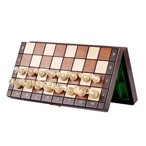 Schach-Set, magnetisches Schach-Set, 25,4 x 25,4 cm, Holz-Schach-Set mit magnetischen, handgefertigten Schachfiguren, Schachspiel-Set mit Aufbewahrungsfächern, Schach (Größe : 27 cm)