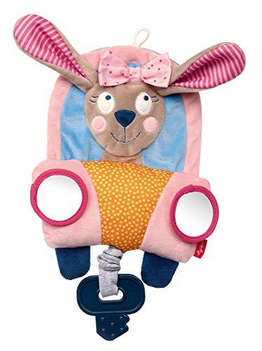 SIGIKID Mädchen, Baby-Spielzeug Hase im Auto, Aktivitätsspiel mit Beißring, Vibrationsrassel und Spiegel, empfohlen ab 6 Monaten, rosa, 42515