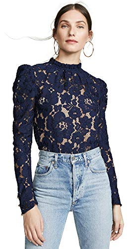 WAYF Women's Emma Puff Sleeve Lace Top, Navy Lace, Blue, Small