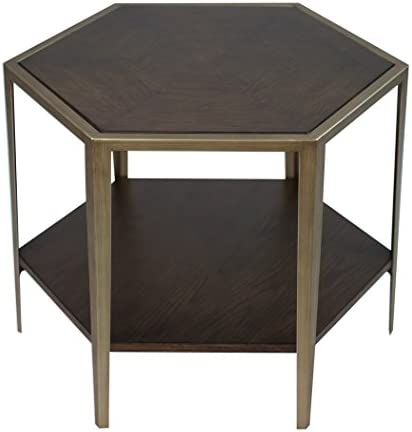 Best MY SWANKY HOME Geometric Wood Veneer Hexagon Accent Table | Bunching Coffee Champagne Bronze