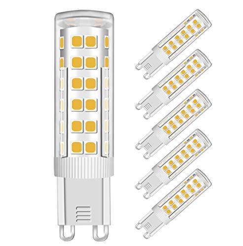 MENTA G9 Lampadina LED 7W (Equivalente a 60W Luce Bianco Caldo, Lampadine) Bagliore Romantico Temperatura 450Lm 3000K AC 220-240V Angolo del facio luminoso di 360 gradi CRI>80, Set da 5