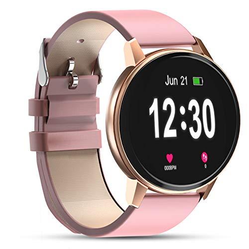 Bluetooth Smartwatch für Frauen, IP68 wasserdicht mit 1,3-Zoll-Touchscreen, Pulsmesser, Schlafmonitor, Activity Tracker Pedometer Smartwatch für Android und iOS (Pink)