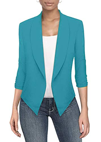 Womens Casual Work Office Open Front Blazer JK1133 Turquoise/L