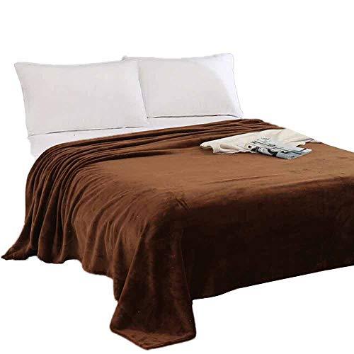 Crystallly Home Beddengoed flanel knuffeldeken Super Soft Warm uit massief warm eenvoudige stijl Micro pluche fleece deken sprei tapijt sofa bedden (koffie)