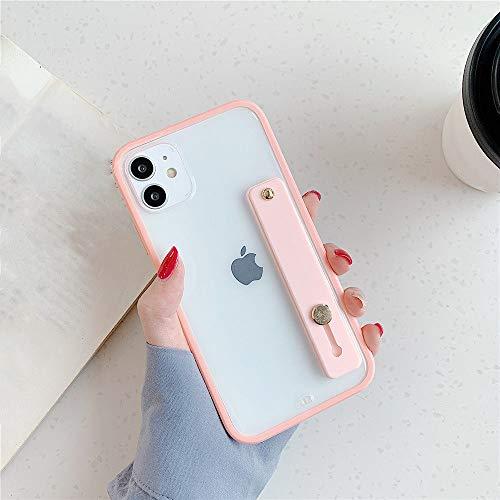 AAA&LIU Funda Transparente con Soporte para Pulsera para iPhone 11 Pro MAX Funda Trasera Transparente Cuadrada a Prueba de Golpes para iPhone 7 8 Plus, Rosa, para iPhone 8