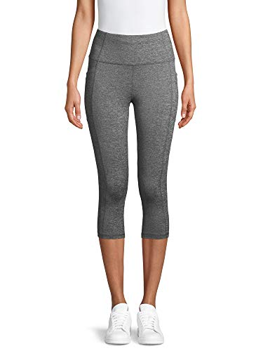 Avia Activewear Women's High Waist Capri Tights with Side Pockets (Small 4/6, Melange)