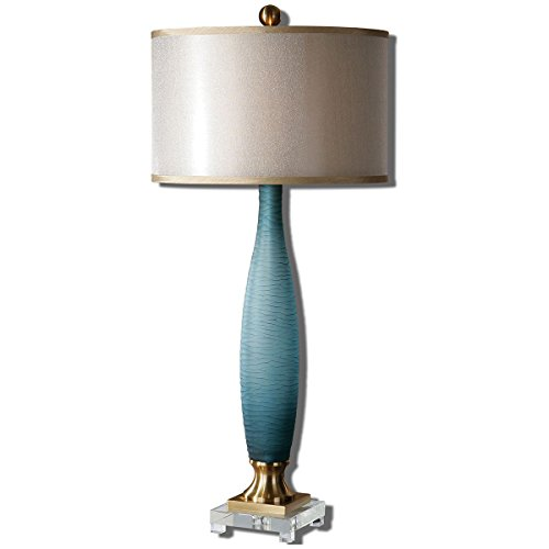 Uttermost 26582-1 Alaia Glass Table Lamp, Blue