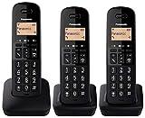 Panasonic KX-TGB613 - Teléfono Fijo inalámbrico trío, Bloqueo de Llamadas, 18 Horas de conversación, 200 Horas en Espera, Agenda 50 contactos, Resistencia a caídas, Color Negro
