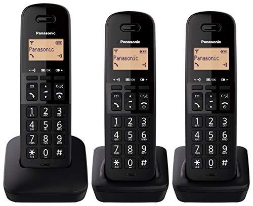 Oferta de Panasonic KX-TGB613 - Teléfono Fijo inalámbrico trío, Bloqueo de Llamadas, 18 Horas de conversación, 200 Horas en Espera, Agenda 50 contactos, Resistencia a caídas, Color Negro