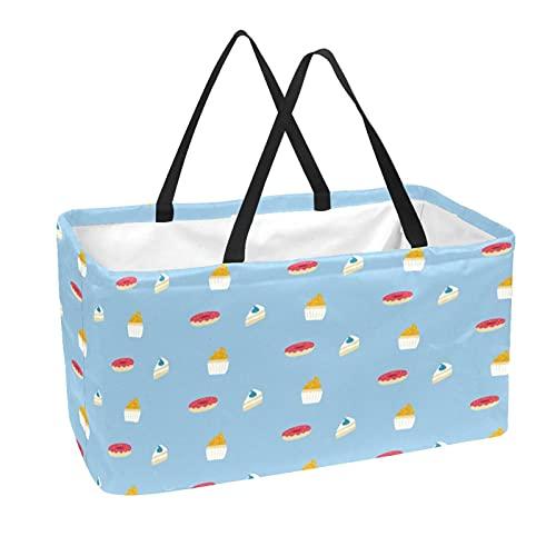Wiederverwendbare Einkaufstüte Große 50L Vorratsbehälter Korb Einkaufstaschen Dessertbecher Kuchen Donuts Blauer Hintergrund