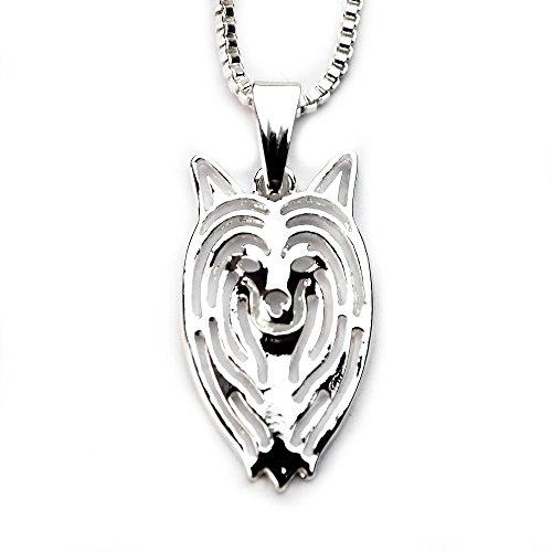 MISS - E - JEWELS TM Collar chapado en plata con colgante de perro crestado pequeño chino, 45 cm (en bolsa de satén), regalo para amantes de los animales de compañía