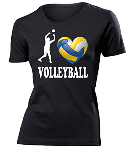 I Love Volleyball Geburtstag Geschenke Damen Frauen t Shirt Tshirt t-Shirt Fanshirt Fan Fanartikel zubehör Bekleidung Oberteil Hemd Kleidung Outfit Spruch Fun witzig Artikel