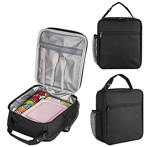 Insulated Lunch Bag with Flatware Set, Insulated School Lunch Bag Leakproof Lunch Tote Bag Water-resistant Lunch Box Lunch Cooler Bag for Adult, Kids, Gift for Women Girls Boys(Black)