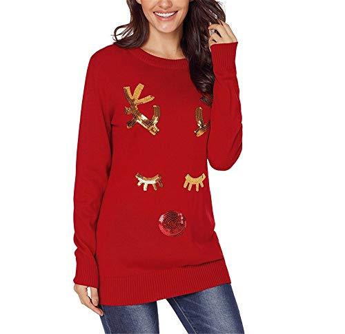 NOHOPE-Maglioni Maglione di Natale/Renna di Lustrini Stampati Pullover/Donna Inverno Oversize Basic Maglione Nero Rosso