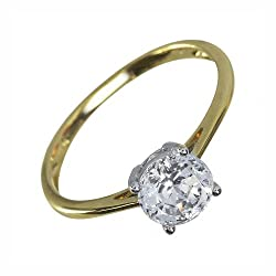 Hallmarked 9ct Yellow Gold - total metal weight 1.592 grams. 1 x round cut of the finest Swiss Cubic Zirconia, totalling 1.944 carats. Equivalent to 1 carat Diamonds. Ring Size: UK P, US 7 1/2, French 56 1/2, German 17 3/4. Rings come in a branded bo...