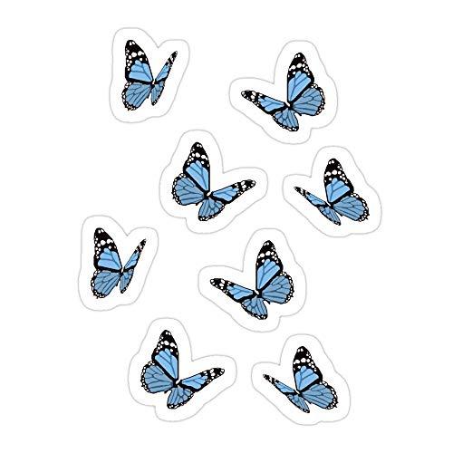 DKISEE (3 PCs/Pack Blue Butterflies Die-Cut Stickers Decals for Laptop Window Car Bumper Helmet Water Bottle 4 inches