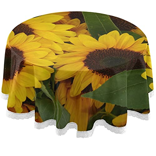 Oarencol Mantel redondo de poliéster lavable con girasoles amarillos de 60 pulgadas para mesa de buffet, fiesta, cena, picnic