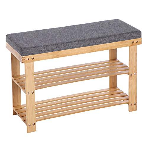 SONGMICS Schuhbank aus Bambus, Schuhregal mit 2 Regalebenen, Sitzbank, für Flur, Wohnzimmer, Sitzfläche bis 150 kg belastbar, 71 x 29 x 49 cm, naturfarben-grau LBS604N01