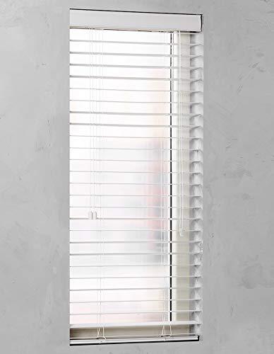 Premium Design Jalousie mit 50mm Lamellen PVC/Holz Optik weiß und anthrazit (Weiß, 105 x 130 cm)