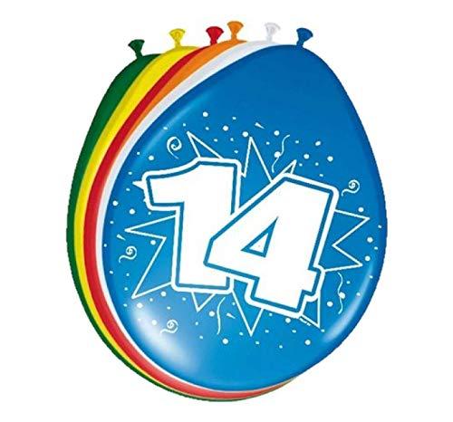 Folat 08215 14. Geburtstag Ballons 30 cm - 8 Stück, Mehrfarbig