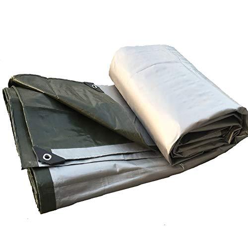 N / A Tarps Lightweight Pergola Tarp, Reinforced Grommets, Waterproof Camping Tarpaulin, Anti-UV Pool Cover Outdoor Backyard Deck, Silver & Green(Size:4×10m)