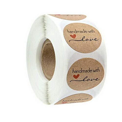 "Etiquetas - Pegatina Kraft Etiqueta Adhesiva - ""Gracias""! -1 Inch Round Kraft - 1 Rollos de Etiquetas X 502 Piezas Etiquetas - para Festival - Boda - Paquete - Sala de Pasteles"