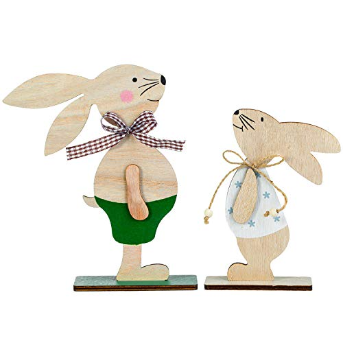 Diealles Shine Dekofigur Hase aus Holz, Set von 2 Osterdeko Holz Figur Osterhase Deko für Haus und Garten Frühling Osterdekoration