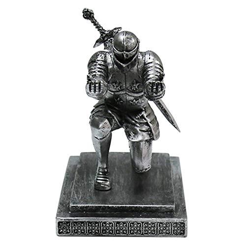 Soporte para bolígrafo con accesorio de espada en una posición de rodilla, decoración de resina de estilo medieval con accesorios para la rodilla