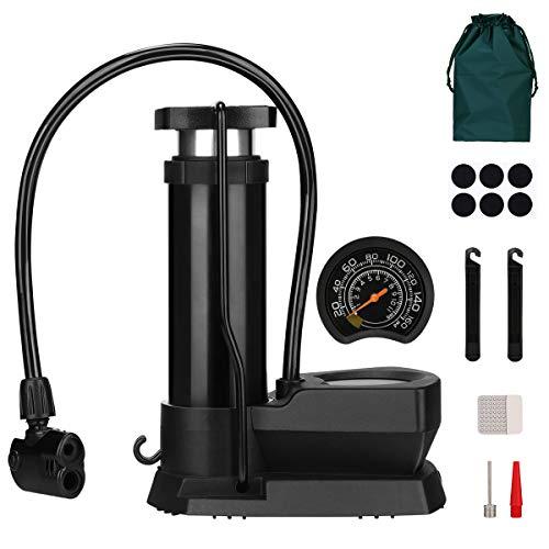 Mini Fahrradpumpe, Fußpumpe mit Hohe Druck 160 PSI Luftpumpe, Tragbare Standpumpe Kompatibel alle Schrader Presta Ventile, Fahrrad Pedal Pump mit Nadel für aufblasbares Spielzeug, Bällen, Reifen