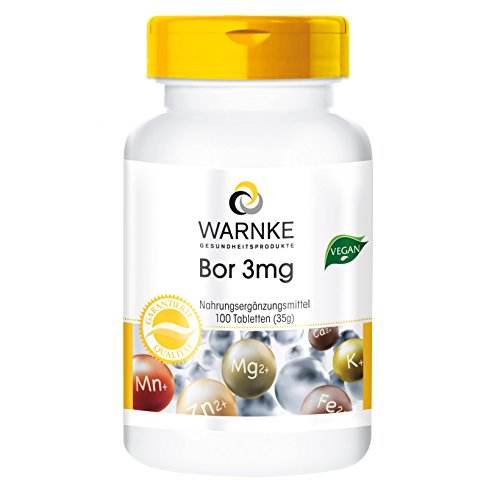 Warnke Vitalstoffe Boron 3 mg, Boron 100 Tablets – vegi Pack of 1 x 30 g)