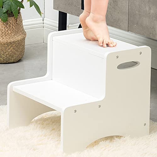 WOOD CITY Wooden Toddler Step Stool for Kids, White Two Step Children's Stool with Handles, Bonus Non-Slip Pads for Safety, Bathroom Potty Stool & Kitchen Step Stools Dual Height