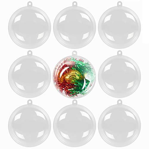 48 Palline di Natale Trasparenti Apribili, Sfere Natalizie da Riempire, 6cm| Plastica Riutilizzabile e Resistente| Fai Da Te, Decorazione Personalizzabile Albero de Natale, Matrimoni, Bomboniere.