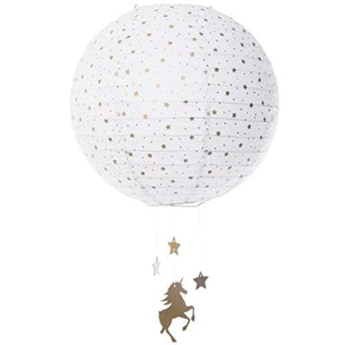 Atmosphera for Kids - Lanterne Boule en Papier Licorne 34cm Blanc