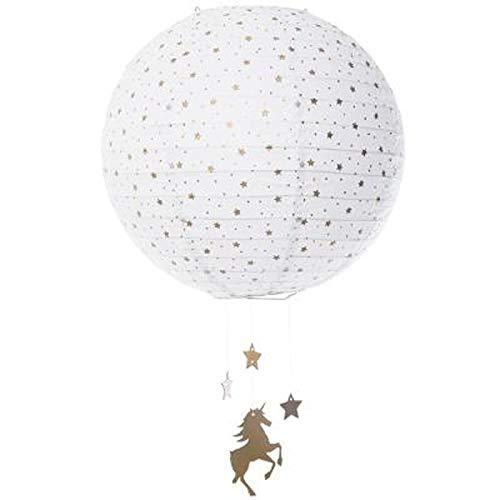 Atmosphera for Kids - Lanterne Boule en Papier Licorne 34cm Blanc
