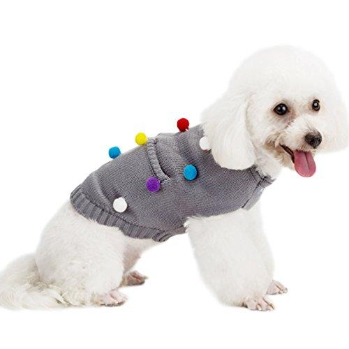 YiJee Animale Domestico Natale Maglieria Maglione Cucciolo Caldo Abbigliamento Pullover per Cane Grigio S