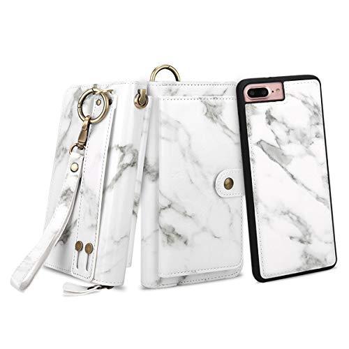 Petocase Compatible iPhone 8 Plus / 7 Plus Wallet Case, Multi-Function Zipper Purse Detachable Magnetic Back Cover Wristlets 13 Card Slots & 4 Cash Pocket for Apple iPhone 8 Plus/7 Plus White Marble
