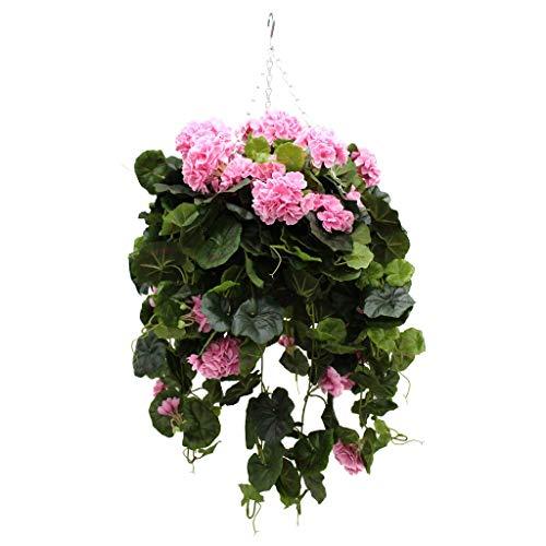 """Blumenampel mit entworfen und Pink, Motiv \""""Efeuranken\"""", Hängekorb mit Kunstblumen von Olore Home Kerze"""