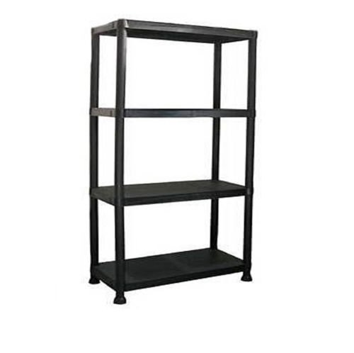 HIGH QUALITY NEW 4 TIER BLACK PLASTIC GARAGE STORAGE SHELVING SHELVES STORAGE UNIT SHED SHELF