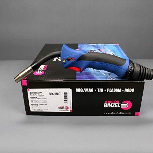 MIG/MAG-Brenner BINZEL MB 15 AK gasgekühlt ERGO-GRIP 3m blau mit Druckschalter