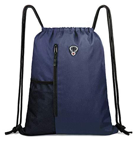 Sports-Gym-Bag for Men&Women Large Drawstring Backpack With Front Zippered Pocket & Water Bottle Mesh Pockets