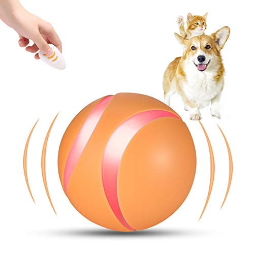 Blingbrione Interactive Dog Toy Ball, Smart Rechargeable Active Moving Dog/Cat Toy with Variety Colors Light, Remote Control Automatic Rolling and Rotating Balls for Puppy, Dogs and Cats (Orange)