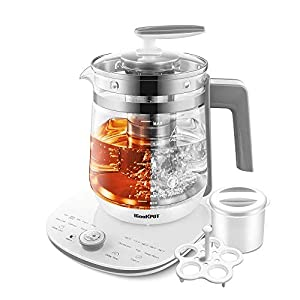 ICOOKPOT Electric Kettle Temperature Control Glass Tea Kettle Programmable Control Tea Pot, 2 Liter Stainless Steel Tea Maker & Coffee Kettle with Tea Infuser, Egg Cooker and Yogurt Box, WHITE